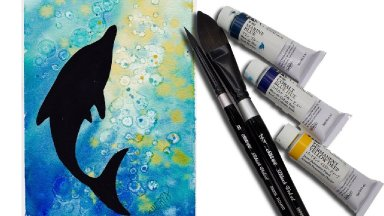Watercolor Dolphin  for beginners painting the Ocean 💇🎨   alcohol technique