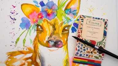 Baby Deer With floral Crown VIVIVA COLORSHEETS Review and Demo + Caran D'ache Pallet