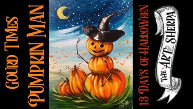 Pumpkin Man Returns Easy Acrylic painting step by step 13 days of Halloween