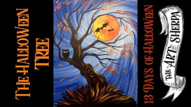 Spooky Tree Holding the Moon Easy Acrylic painting step by step #13 Days of Halloween