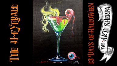 Creepy cocktail Beginner Acrylic Painting Step by step #13 Days of Halloween