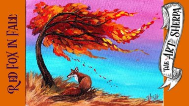 Easy Red Fox and Fall tree Acrylic painting step by step  #LoveFallArt2019