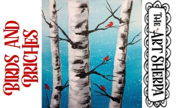EASY Winter Birds and Birch trees Acrylic painting tutorial step by step