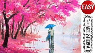 Lovers Walk Cherry Trees Easy Acrylic painting tutorial step by step Live Streaming