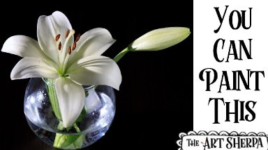 White lily in a glass vase Acrylic painting tutorial step by step Live Streaming